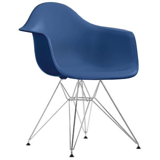 Vitra DAR stoel kuip navy blue onderstel verchroomd