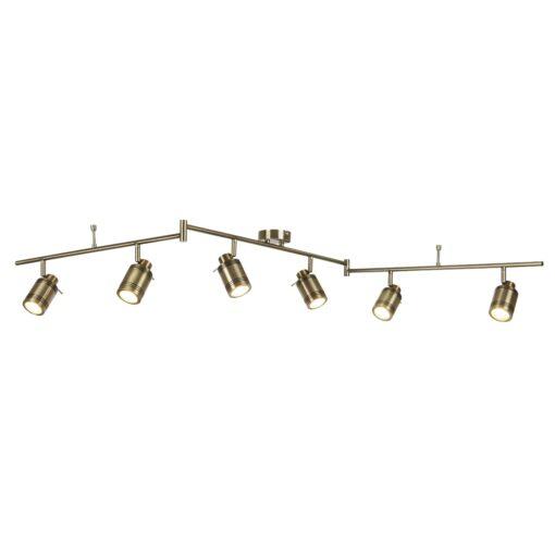 Searchlight Samson LED plafondlamp 6spots - verouderd messing
