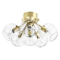 Tage plafondlamp messing-helder glas