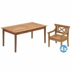 Skagerak Drachmann tuinset 156x86 tafel + 4 stoelen