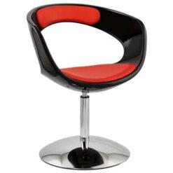 24Designs Draaibare Lounge Stoel Burguret - Zwarte/Rode Zitting -