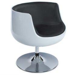 24Designs Draaibare Lounge Stoel Calypso - Wit/Zwart