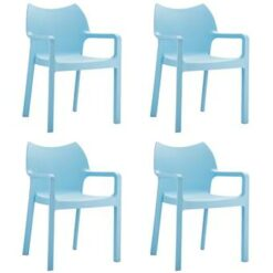 24Designs Set 4 Tuinstoelen Diva Stapelbaar - IJsblauw