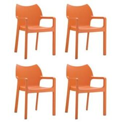 24Designs Set 4 Tuinstoelen Diva Stapelbaar - Oranje