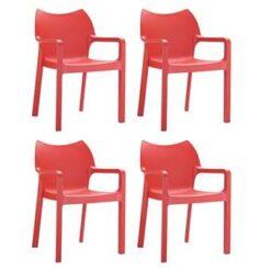 24Designs Set 4 Tuinstoelen Diva Stapelbaar - Rood