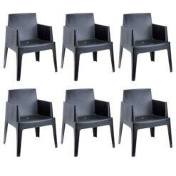 24Designs Set 6 Tuinstoelen Box - Zwart