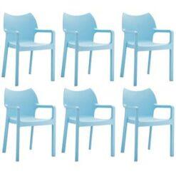 24Designs Set 6 Tuinstoelen Diva Stapelbaar - IJsblauw