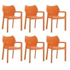 24Designs Set 6 Tuinstoelen Diva Stapelbaar - Oranje