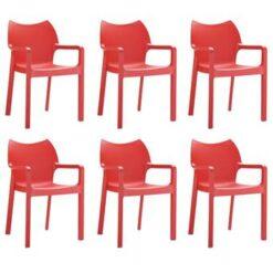 24Designs Set 6 Tuinstoelen Diva Stapelbaar - Rood