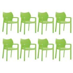 24Designs Set 8 Tuinstoelen Diva Stapelbaar - Groen