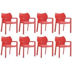 24Designs Set 8 Tuinstoelen Diva Stapelbaar - Rood