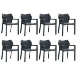 24Designs Set 8 Tuinstoelen Diva Stapelbaar - Zwart