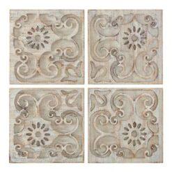 Art for the Home - Houten panelen - Moroccan Light Wood - 4x 33x33 cm
