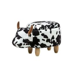 Beliani Cow Hocker Zwart Stof