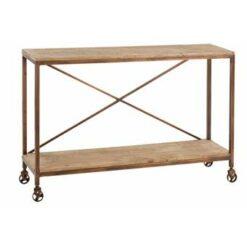 Duverger Industry - Sidetable - op wielen - 2 houten legplanken -