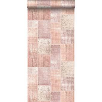 ESTAhome behang Marrakech kelim patchwork tapijt perzik oranje roze