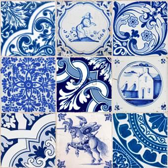 ESTAhome behang XXL kleine tegeltjes delfts blauw