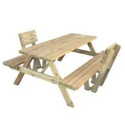 MaximaVida houten picknicktafel Economy 120 cm met twee rugleuningen