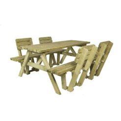 MaximaVida houten picknicktafel Economy 180 cm met vier rugleuningen