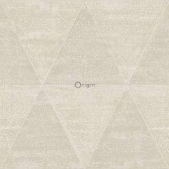 Origin behang aangetaste metalen driehoeken beige