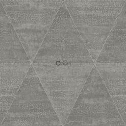 Origin behang aangetaste metalen driehoeken industrieel grijs