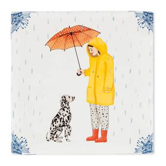 StoryTiles It's Raining Dogs Wandtegel 13 x 13 cm