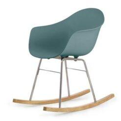 TOOU TA ER schommelstoel - Armstoel blauw - Onderstel chroom