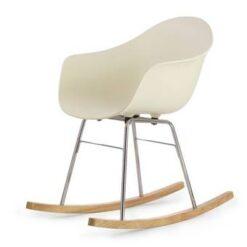 TOOU TA ER schommelstoel - Armstoel crème - Onderstel chroom