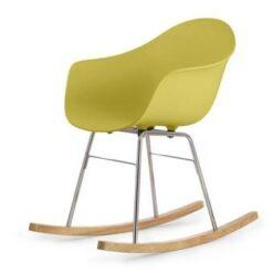 TOOU TA ER schommelstoel - Armstoel geel - Onderstel chroom
