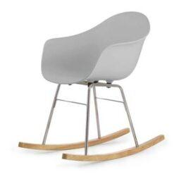 TOOU TA ER schommelstoel - Armstoel grijs - Onderstel chroom