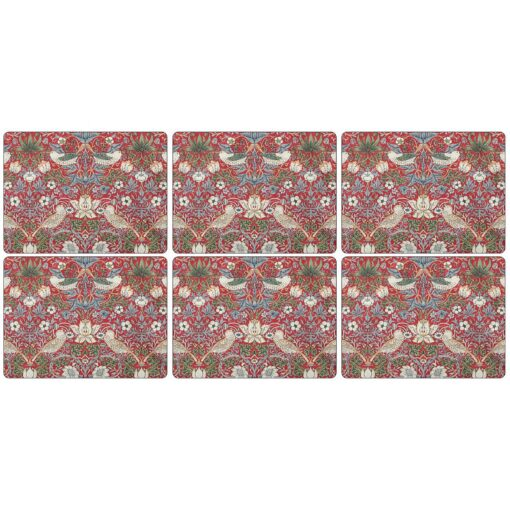 Strawberry Thief placemats 30x23 cm 6-pack Rood