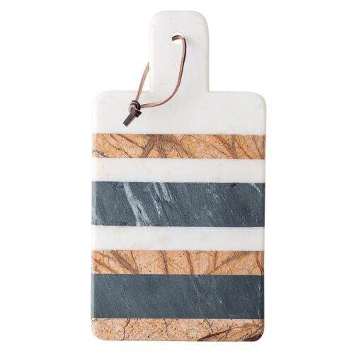Bloomingville snijplank met handvat marmer Wit-grijs-bruin