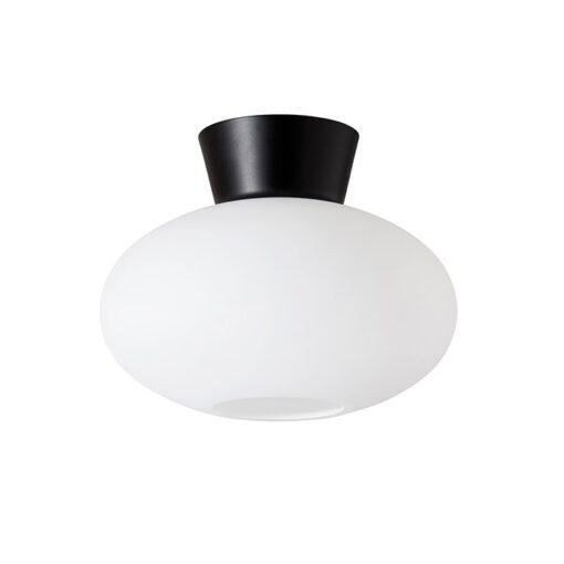 Bullo plafondlamp opaalglas Ø27 cm Matzwart