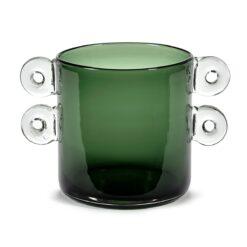 Wind & Fire vaas met oor 18 cm Dark green