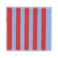 Kaksi Raitaa handdoek blauw-rood 30x30 cm
