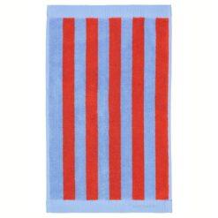 Kaksi Raitaa handdoek blauw-rood 30x50 cm